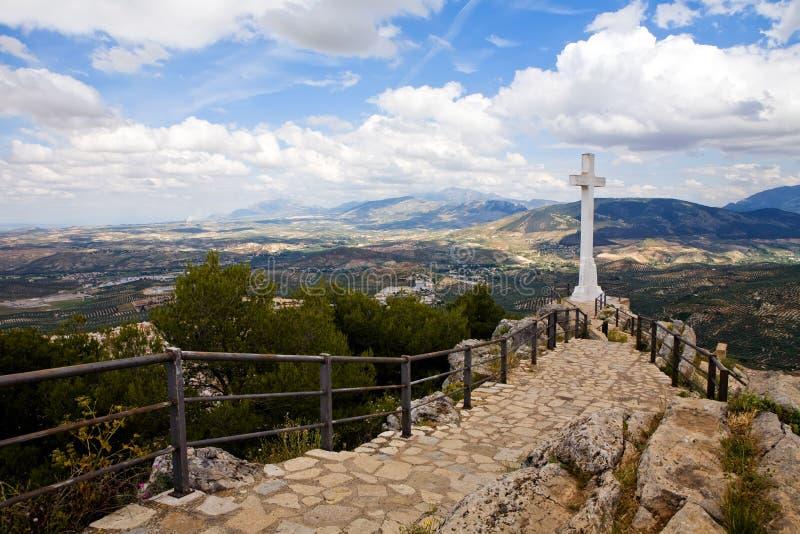 Cruz del Castillo de Santa Catalina stock photography