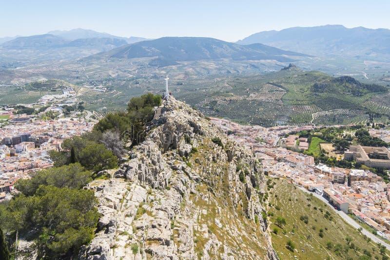 Cruz del castillo de Santa Catalina, Jaén, España foto de archivo libre de regalías