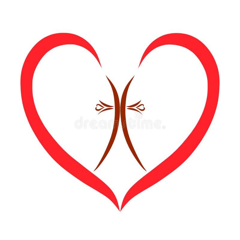 Cruz del corazón y del cristiano en el centro libre illustration