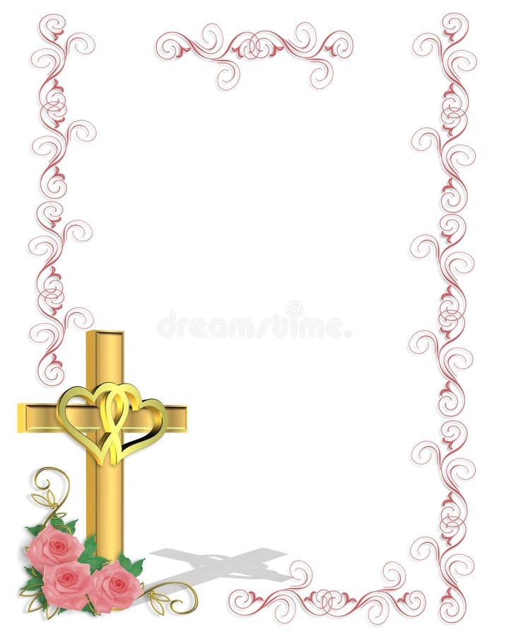 Cruz del cristiano de la invitación de la boda ilustración del vector