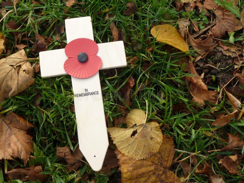 Cruz del día de la conmemoración WW1 con la amapola fotografía de archivo