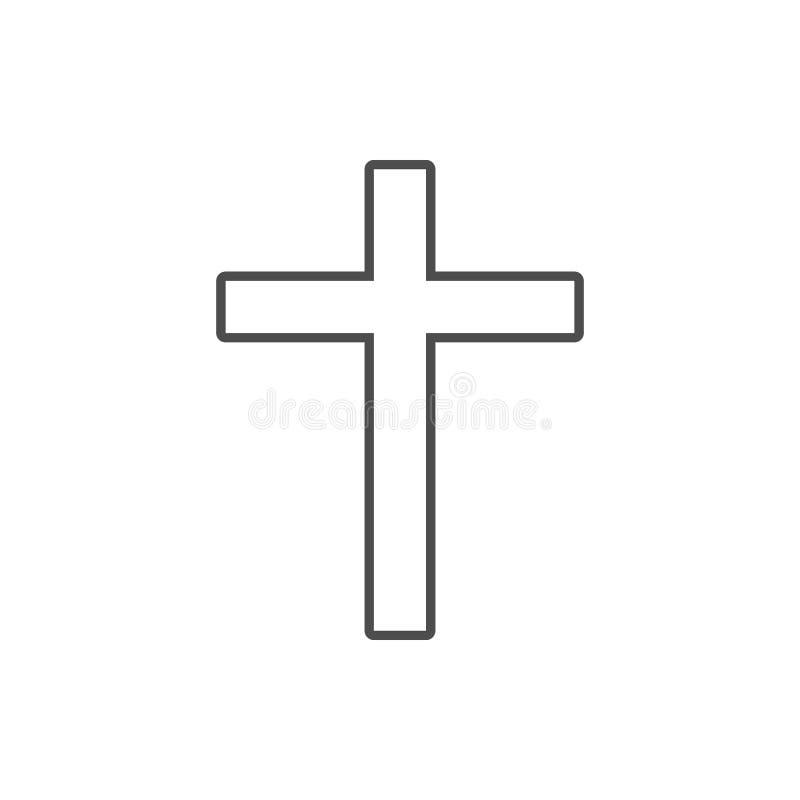 cruz del icono cruzado Elemento de la seguridad cibernética para el concepto y el icono móviles de los apps de la web Línea fina  stock de ilustración
