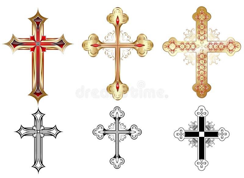 Cruz del oro tres ilustración del vector