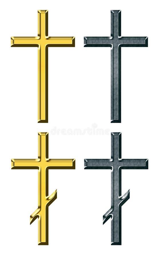 Cruz del oro y de la plata ilustración del vector