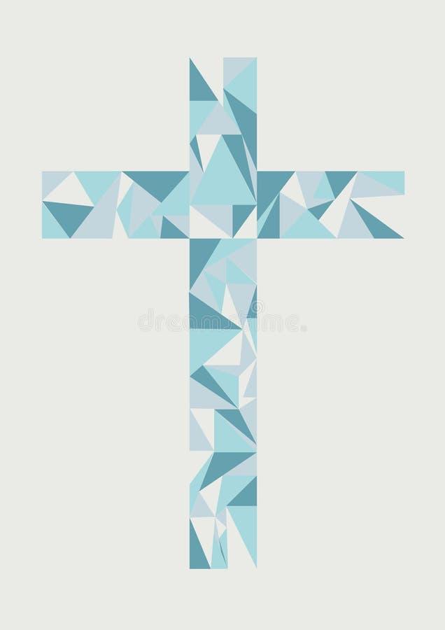 Cruz del triángulo de Vecter en tono azul del color en fondo gris | impresión | ejemplo del diseño web | ilustraciones del contex stock de ilustración