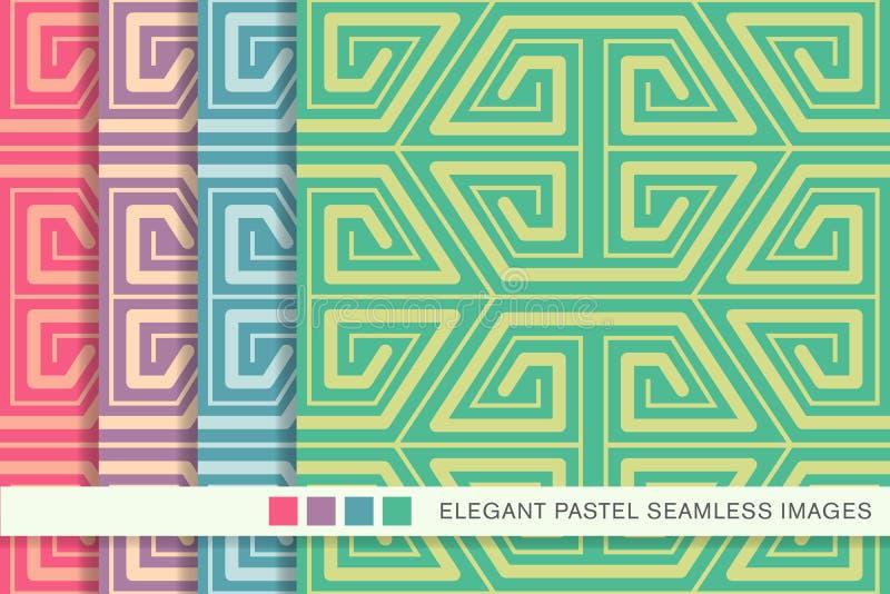 Cruz determinada del espiral de la geometría del polígono del fondo en colores pastel inconsútil libre illustration