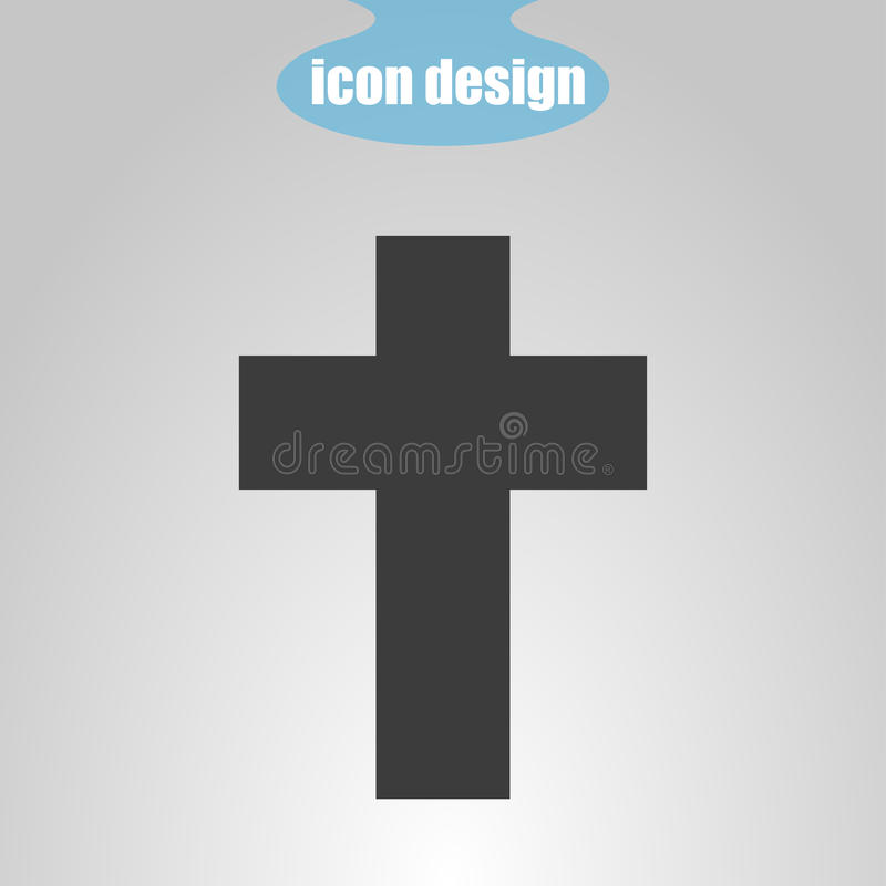 Cruz do ícone em um fundo cinzento Ilustração do vetor O símbolo da cristandade ilustração stock