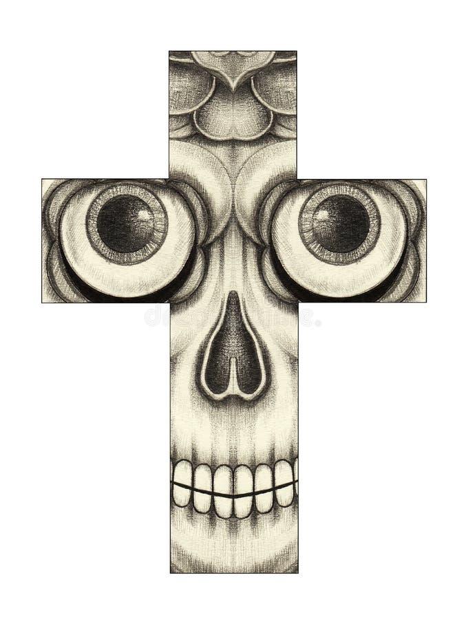 Cruz do crânio da arte ilustração stock