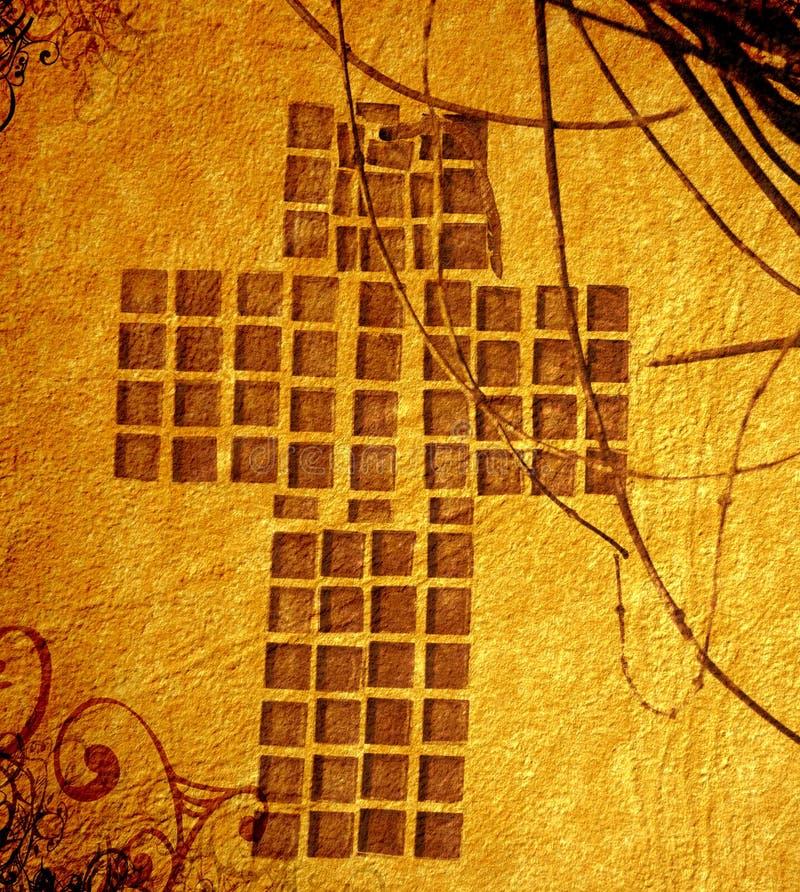 Cruz do cristão de Grunge ilustração do vetor