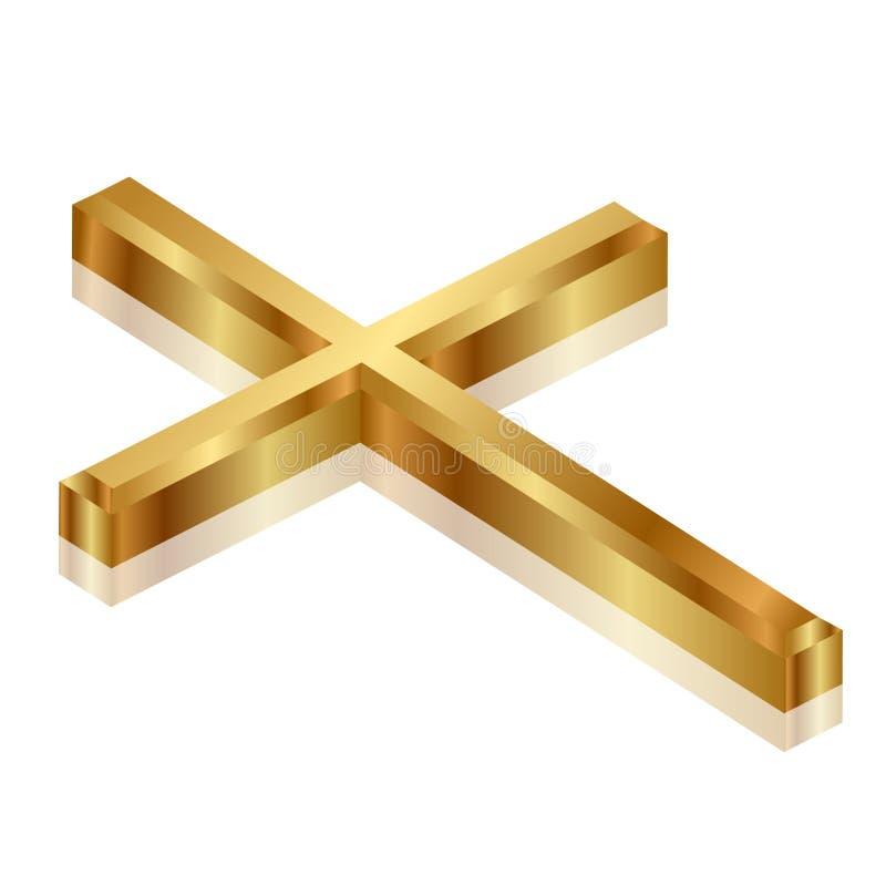 Cruz do ouro ilustração do vetor