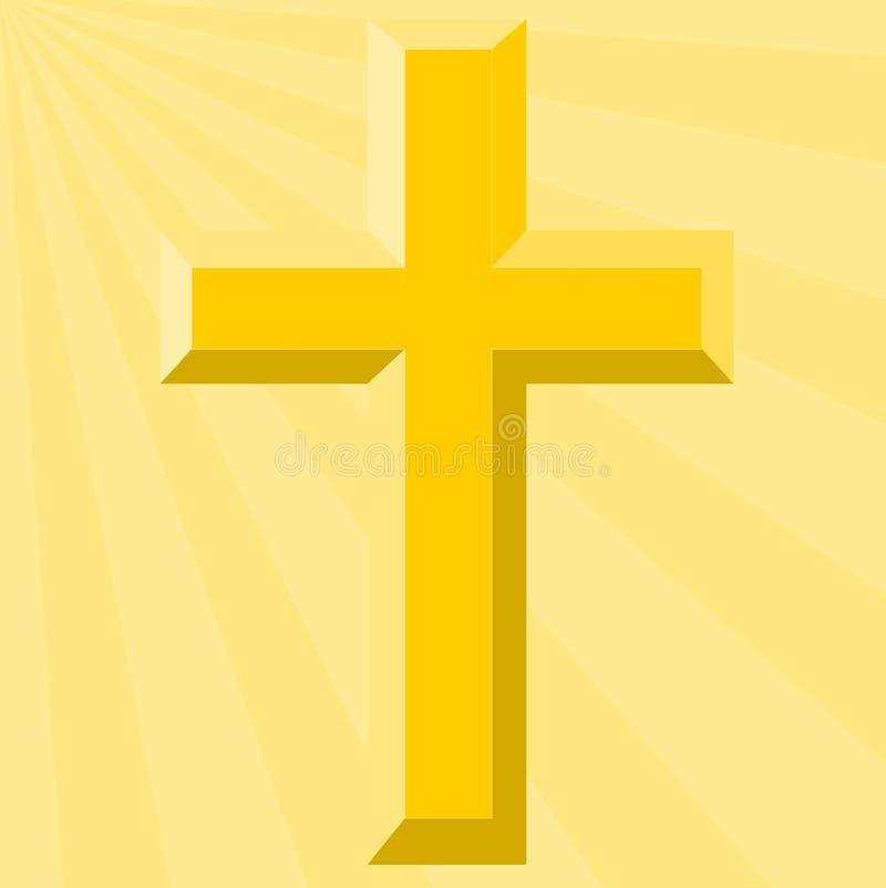Cruz do ouro e Sunburst brilhante - ilustração ilustração stock