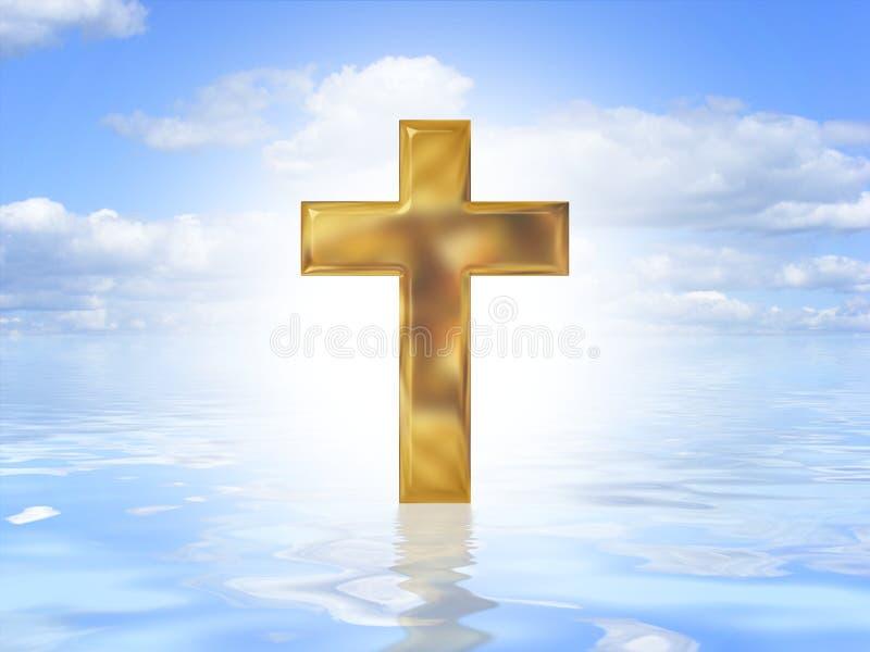 Cruz do ouro na água ilustração do vetor