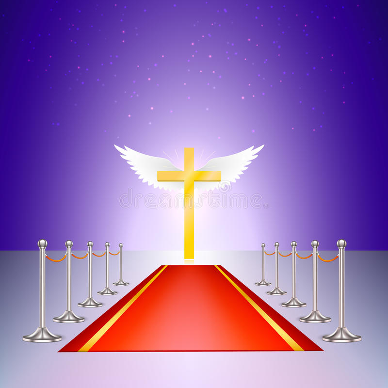 Cruz do ouro, tapete vermelho e cerco do cromo ilustração royalty free