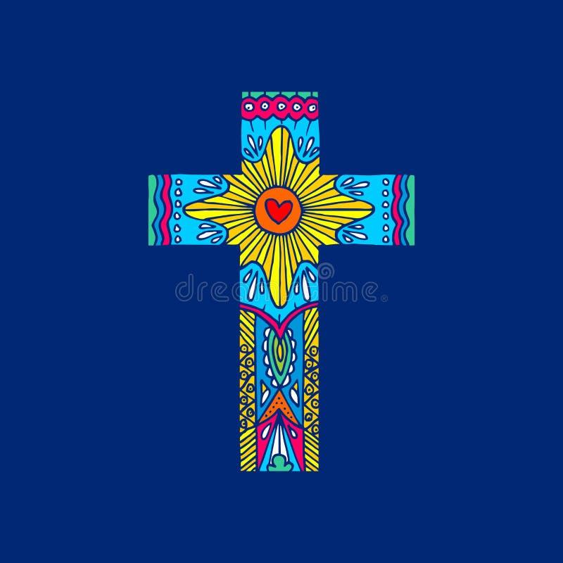 Cruz do senhor e do salvador Jesus Christ desenhado à mão Elementos da garatuja e do projeto para dentro Cristão e símbolos bíbli ilustração royalty free