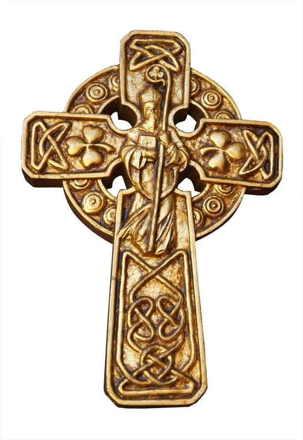 Cruz do St Patrick do ouro foto de stock