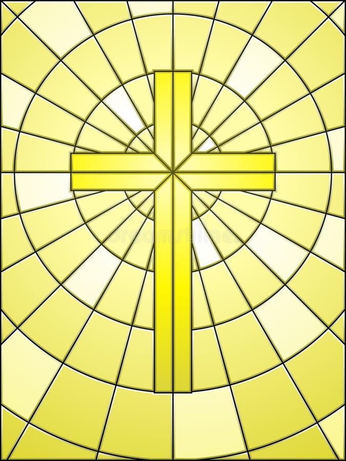 Cruz do vidro manchado no ouro ilustração do vetor