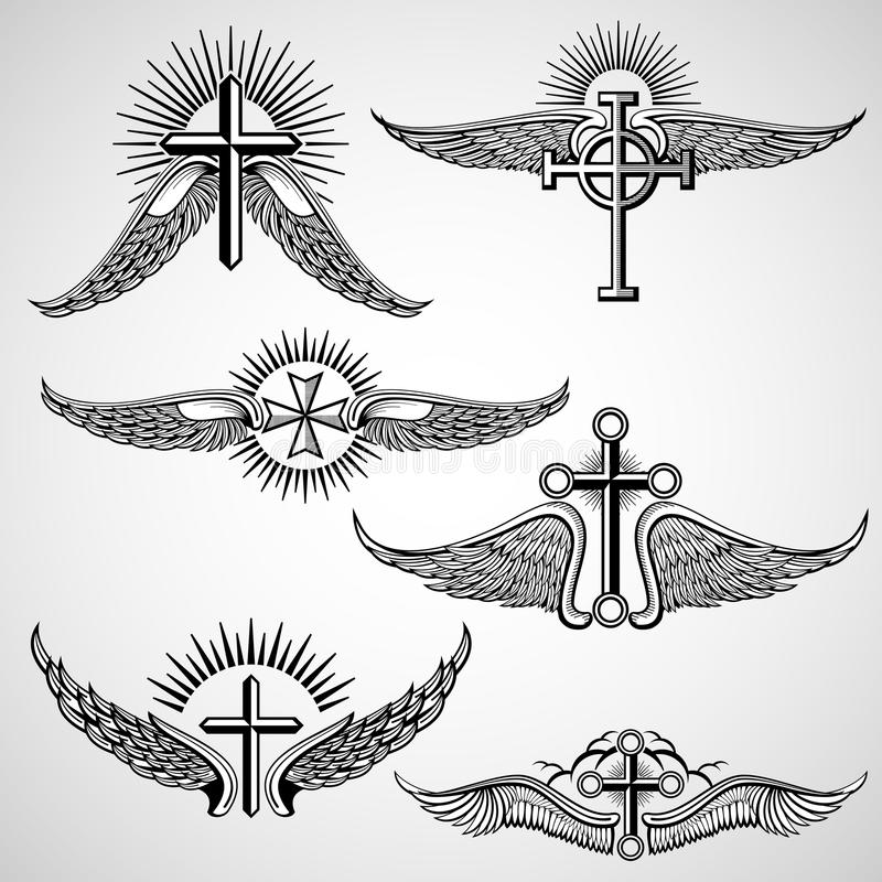 Cruz do vintage e elementos do vetor da tatuagem das asas ilustração royalty free