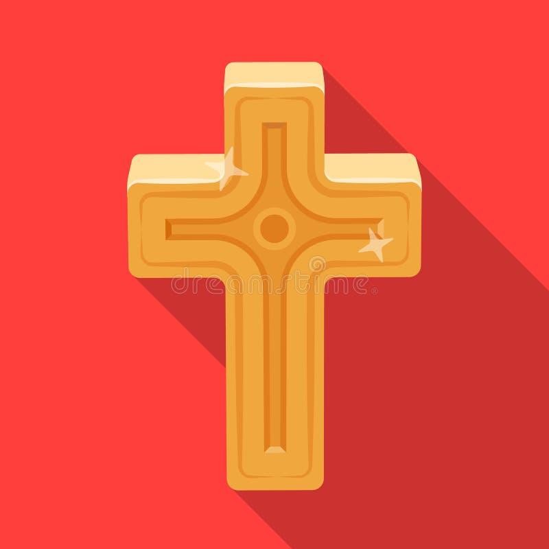 Cruz dourada Único ícone da Páscoa na ilustração lisa do estoque do símbolo do vetor do estilo ilustração stock