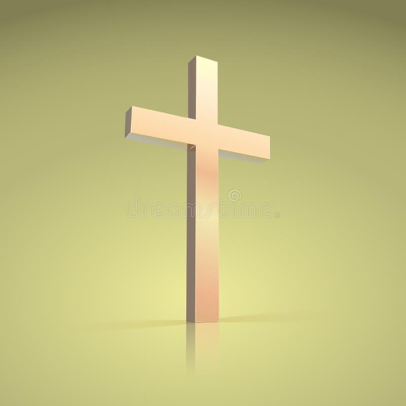 Cruz dourada, símbolo do cristão ilustração do vetor