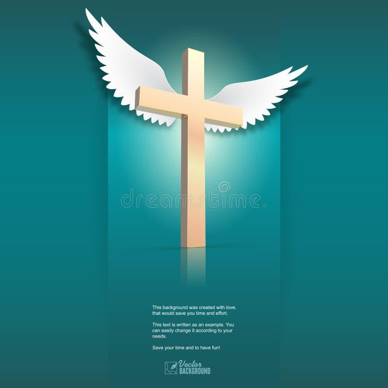 Cruz e asas ilustração royalty free