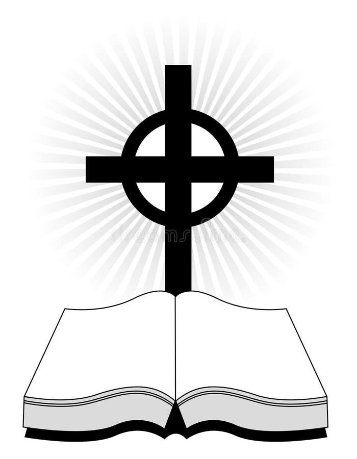 Cruz e Bíblia ilustração do vetor