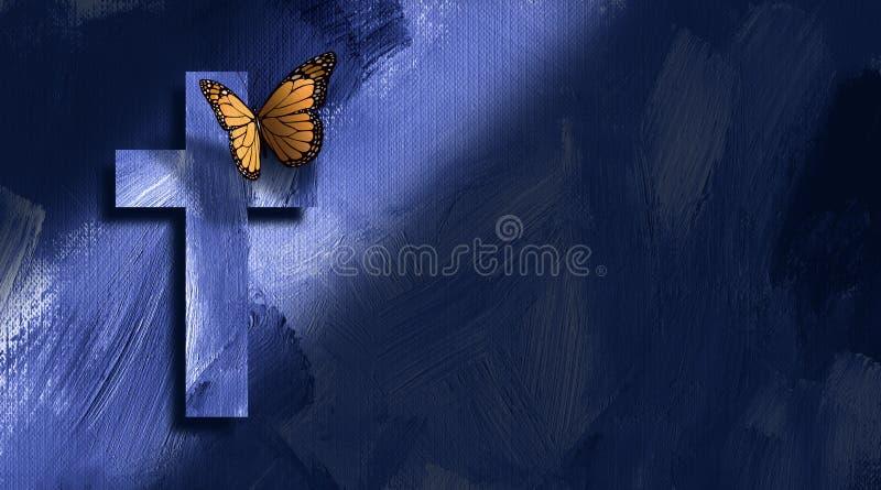 Cruz e borboleta cristãs gráficas ilustração stock