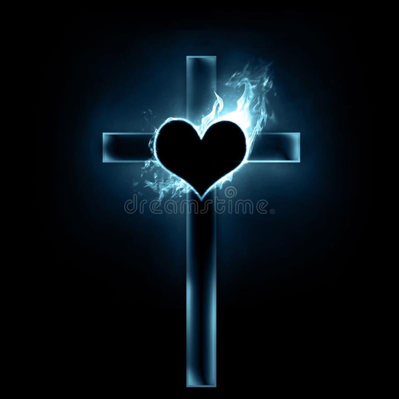 Cruz e coração ilustração stock