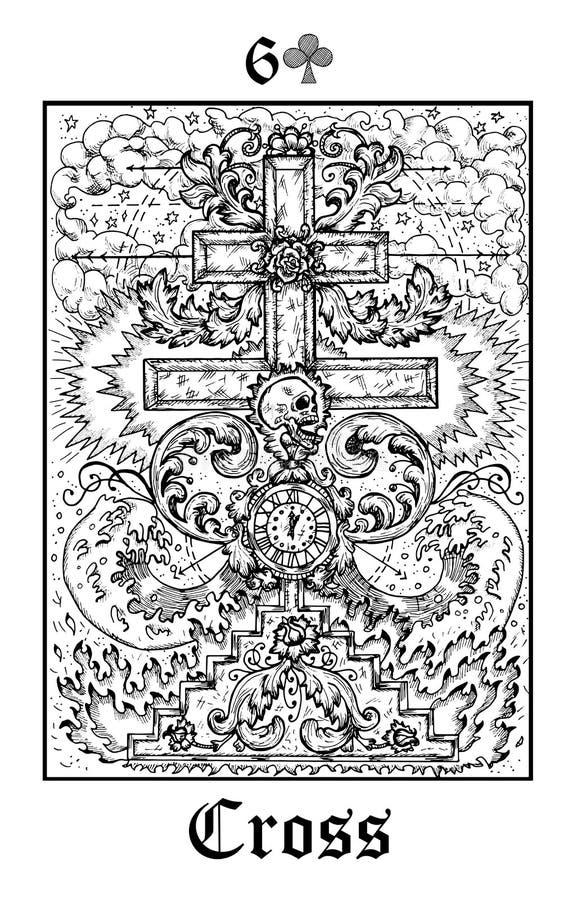 Cruz e cr?nio Cartão de tarô da plataforma gótico do oráculo dos mistérios de Lenormand do vetor ilustração stock