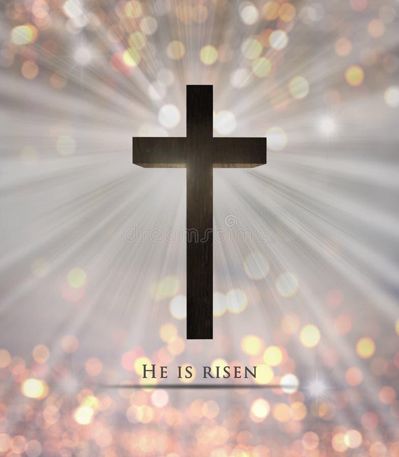 A cruz e de madeira de Jesus Christ são texto aumentado para a Páscoa ilustração royalty free