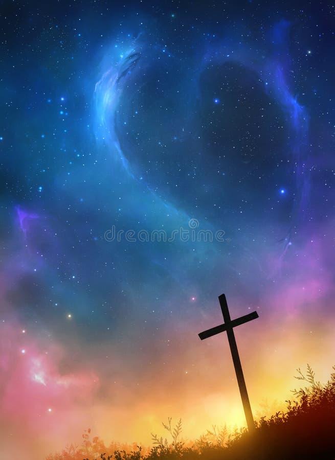 cruz e estrelas fotografia de stock