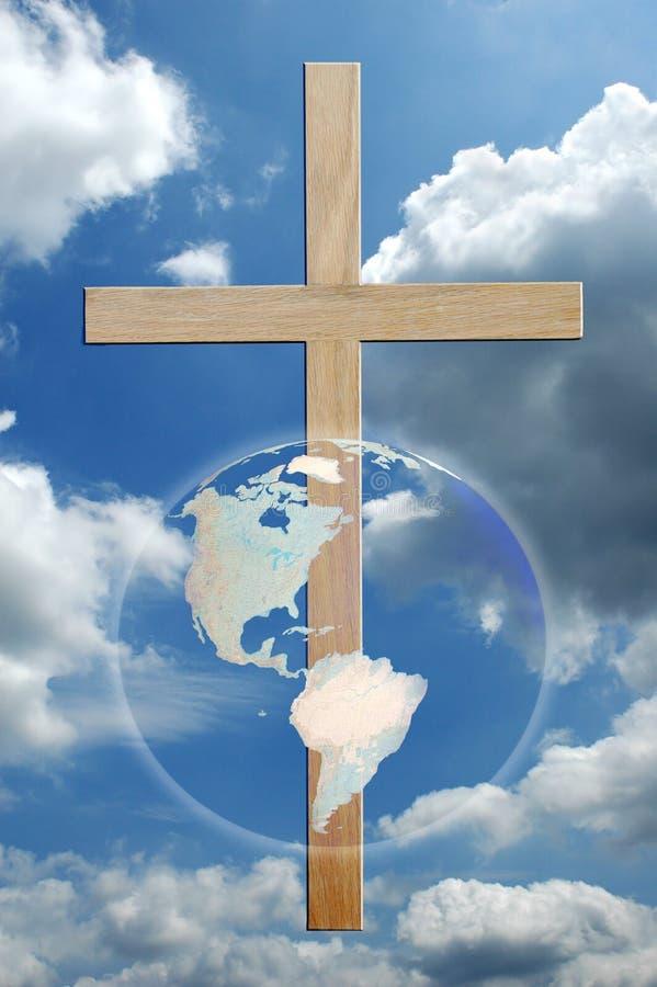 Cruz e mundo ilustração royalty free