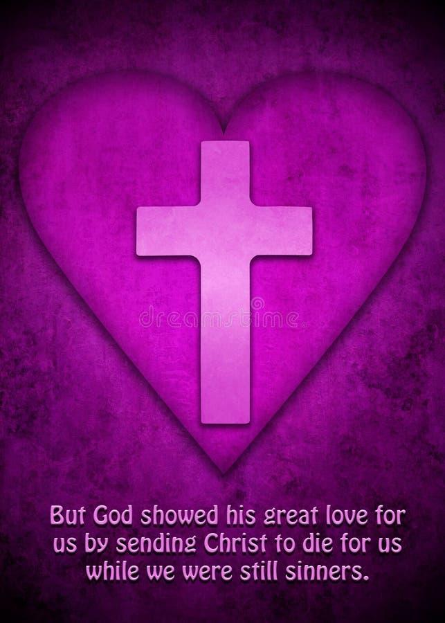 A cruz e o coração como o símbolo para deuses amam imagem de stock