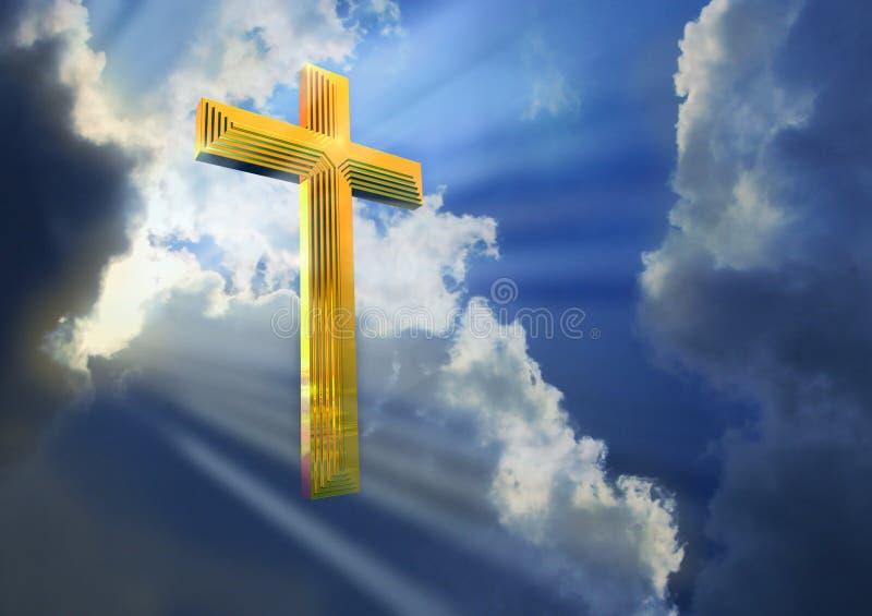 Cruz en cielo celeste ilustración del vector