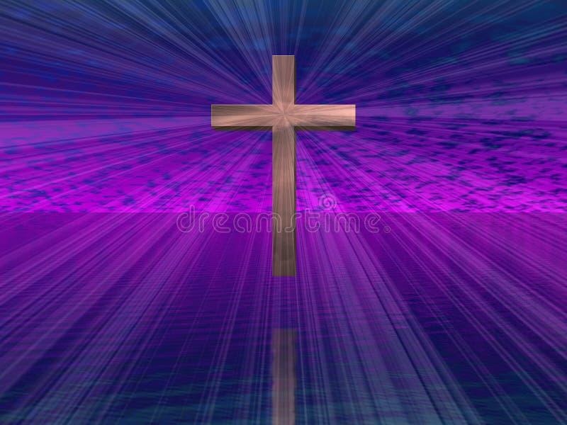 Cruz en cielo púrpura ilustración del vector