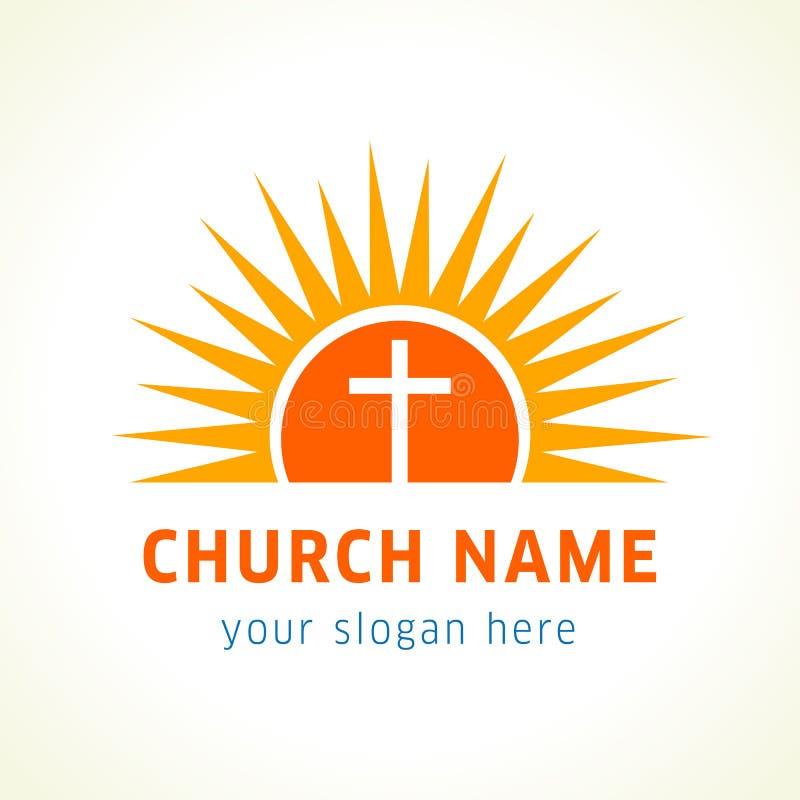 Cruz en el logotipo de la iglesia del sol stock de ilustración