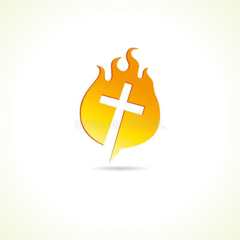 Cruz en logotipo de la iglesia cristiana del fuego ilustración del vector