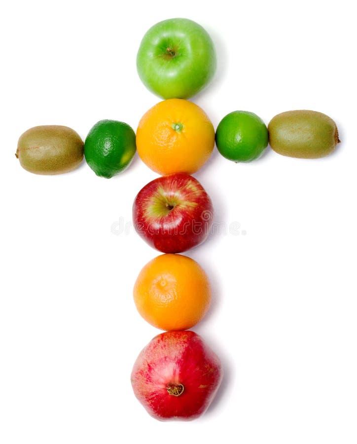 Cruz feita da fruta fresca fotografia de stock