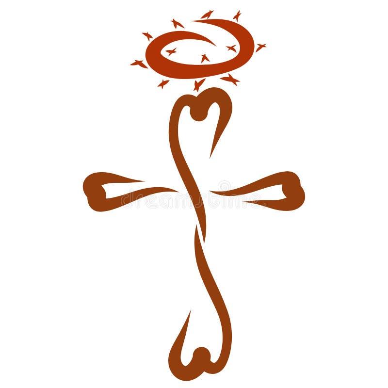Cruz figurada com corações e coroa de espinhos ilustração royalty free