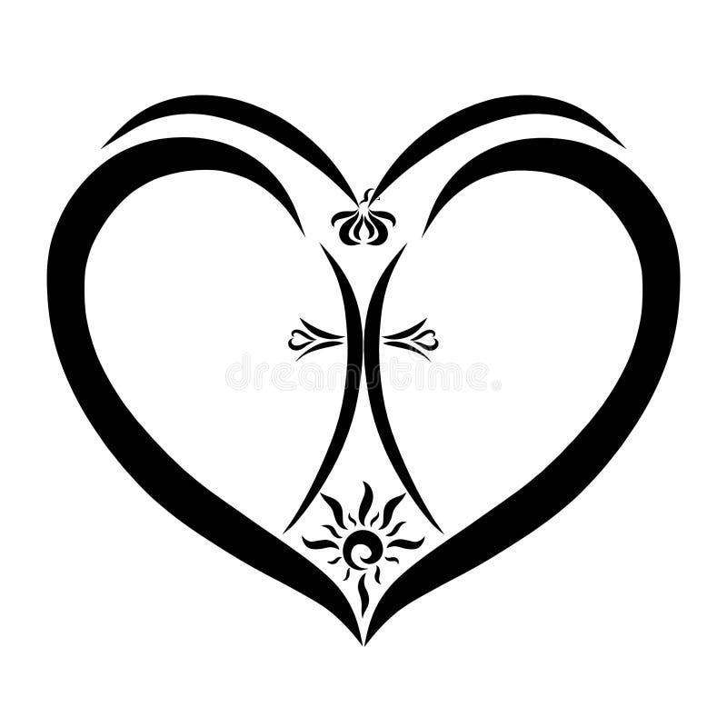 Cruz figurada con el sol brillante en el corazón, un pájaro que vuela encima ilustración del vector