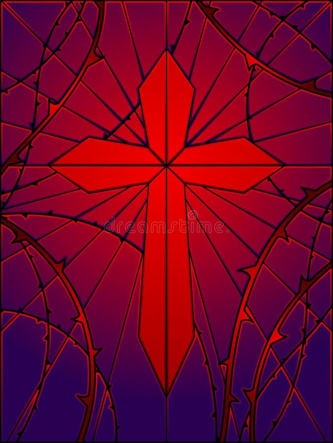 Cruz gótico do vidro manchado ilustração royalty free
