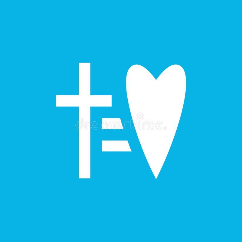 Cruz igual ao ícone do vetor do coração Molde religioso lacônico do logotipo do símbolo Logotype da fé e do amor Sinal linear do  ilustração royalty free