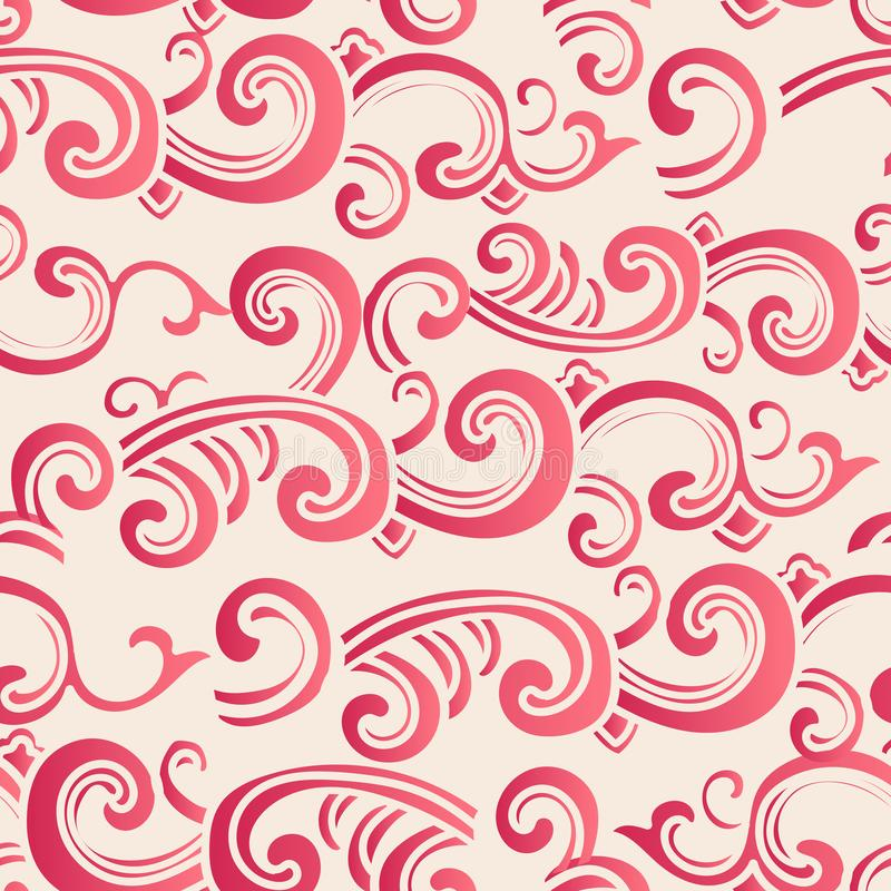 Cruz inconsútil elegante de la curva del espiral del jardín botánico del estilo chino stock de ilustración