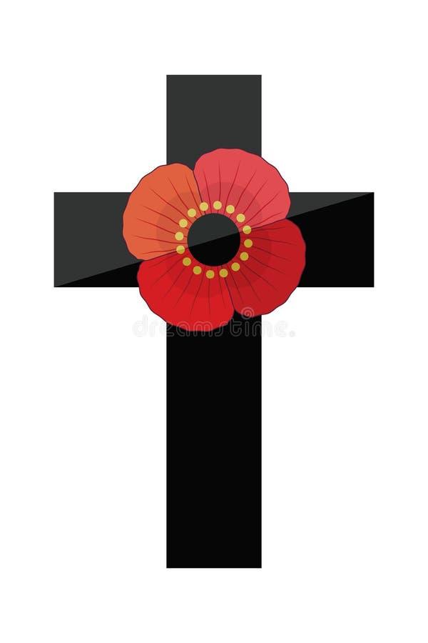 Cruz isolada com a papoila vermelha para o dia do anzac ou da relembrança ilustração royalty free