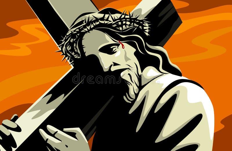 Cruz levando de Jesus ilustração royalty free