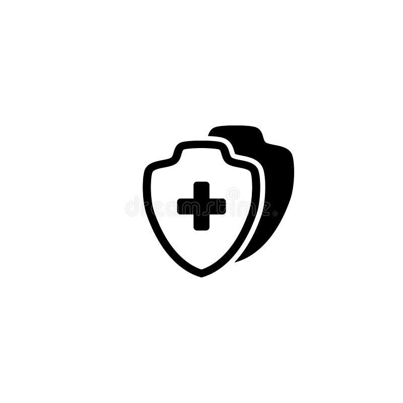 Cruz lisa da saúde do protetor médico do ícone do protetor médica ilustração stock