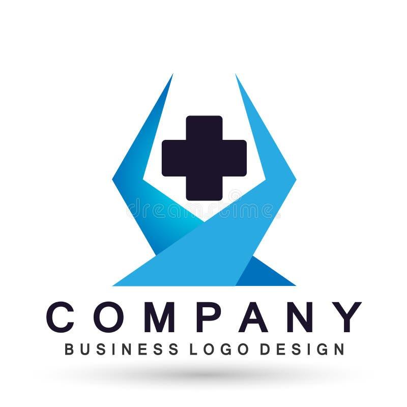 Cruz médica da clínica dos cuidados médicos com ícone saudável dado forma hexágono do projeto do logotipo dos cuidados paliativos ilustração royalty free