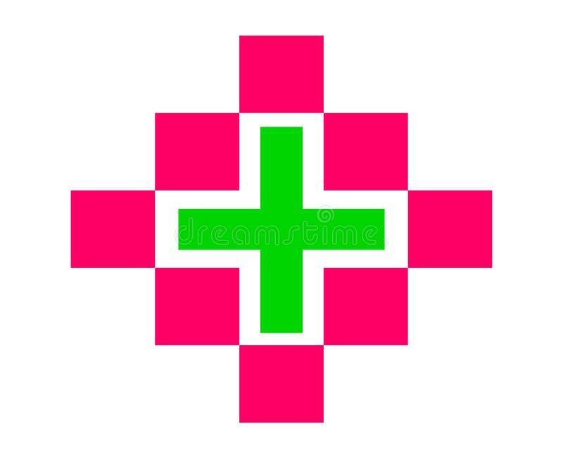 Cruz médica de dibujo de la salud del logotipo stock de ilustración