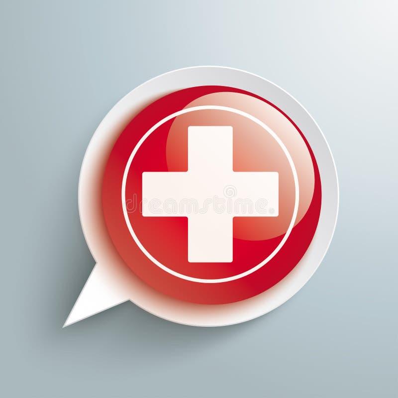Cruz médica del botón brillante rojo de la burbuja del discurso ilustración del vector