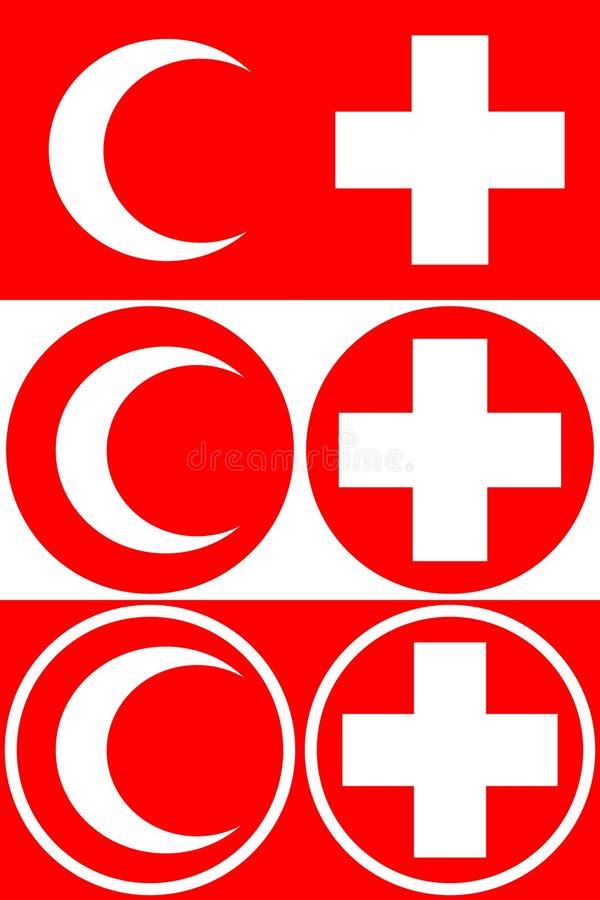 Cruz médica e crescente médico Um grupo de opções para símbolos médicos Ilustração do vetor ilustração stock
