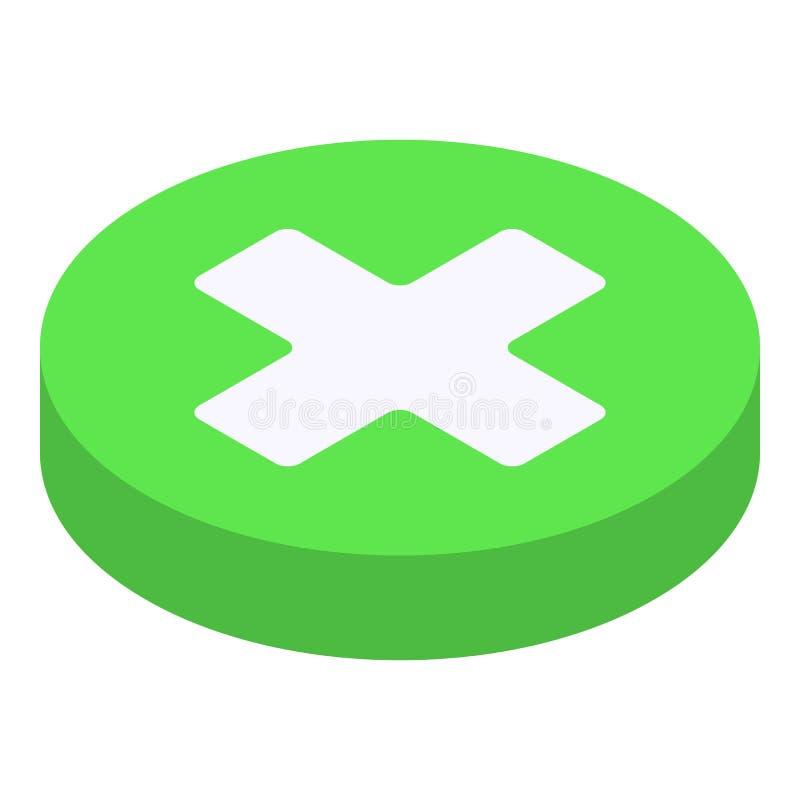 Cruz médica no ícone verde da torta, estilo isométrico ilustração royalty free